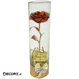 گلدان به همراه گل مصنوعی مدل رز