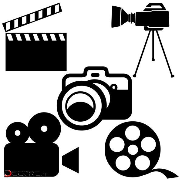 استیکر طرح دوربین کد camera-01 مجموعه پنج عددی