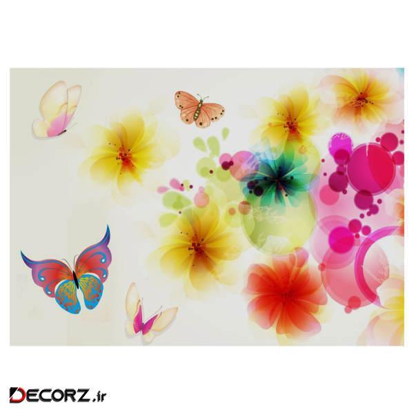 تابلو شاسی طرج نقاشی گل و پروانه مدل T1212