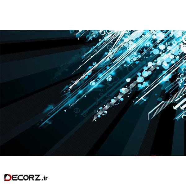 تابلو شاسی طرح رنگ های سرد انتزاعی مدل T1208