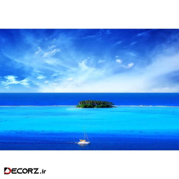 تابلو شاسی طرح منظره دریا آسمان قایق جزیره مدل T1215