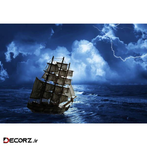 تابلو شاسی طرح نقاشی دریا و کشتی و رعد برق مدل T1219