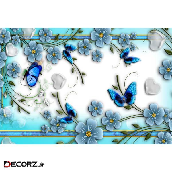 تابلو شاسی طرح نقاشی گل و پروانه مدل T1221