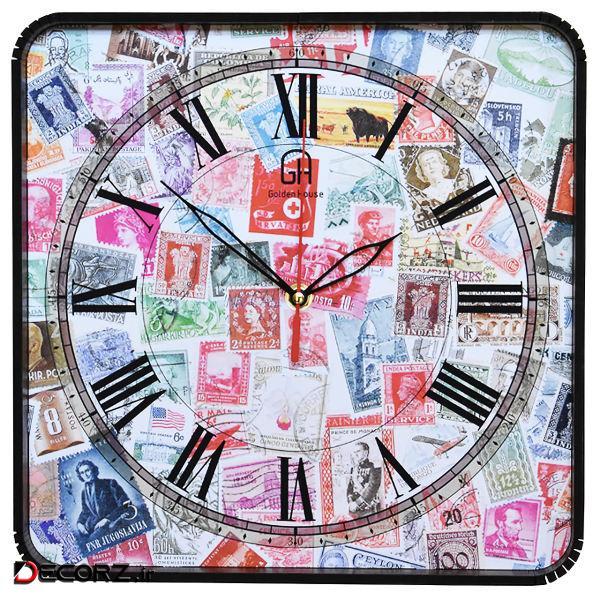 ساعت دیواری گلدن هوس مدل Stamp