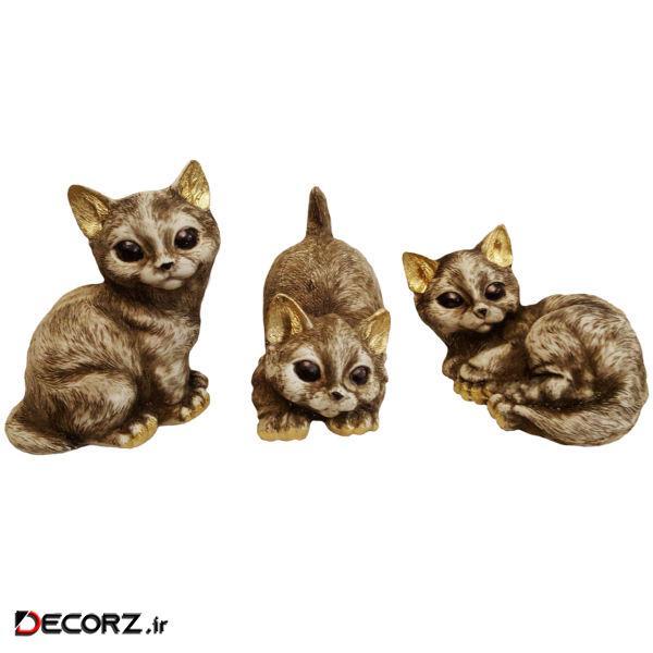 مجسمه لیلپار طرح بچه گربه مدل DKA-6023 مجموعه 3 عددی