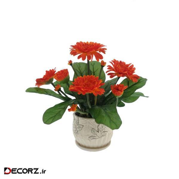 گلدان به همراه گل مصنوعی هومز طرح ژربرا مدل 40105