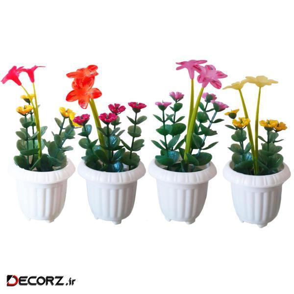 گلدان به همراه گل مصنوعی کد 005 مجموعه 4 عددی