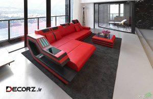 ایده انتخاب مبل چرم قرمز مشکی در دکوراسیون لاکچری و مدرن