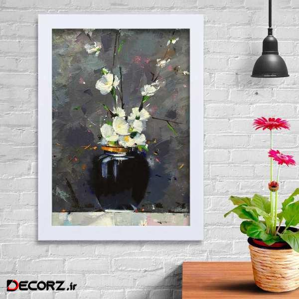تابلو   گالری استاربوی طرح گل سفید مدل هنری KL132