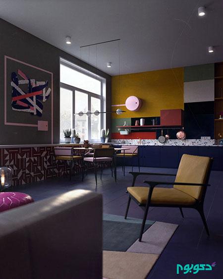 دکوراسیون آپارتمانی جذاب با حال و هوای بهاری(1)