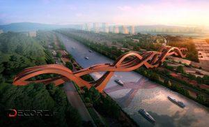 «پل گره شانس» در چین؛ پل عابر پیاده ای متشکل از ۳ پل در هم تنیده