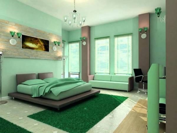 دیوار سبز اتاق خواب