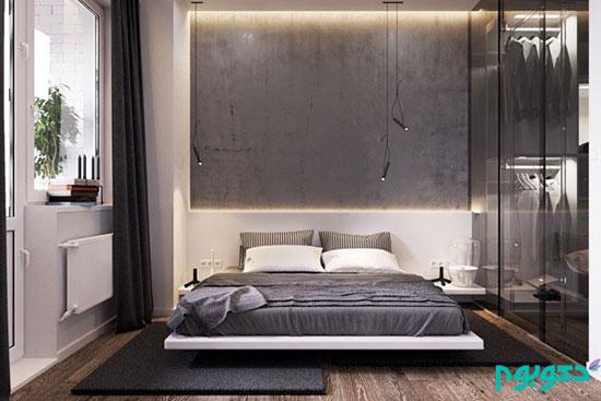 دکوراسیون اتاق خواب با بتن، متریال محبوب قرن 21 (1)