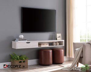 45 مدل میز تلویزیون دیواری در طرح های مدرن چوبی و ام دی اف
