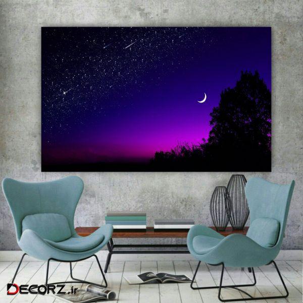 تابلو بوم مدل آسمان و ستاره و ماه کد AR148