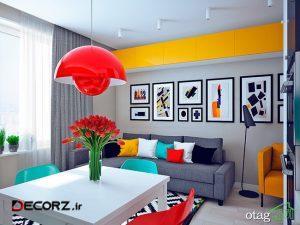 دکوراسیون خانه های کوچک با رنگ های بسیار شاد و زنده