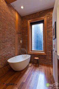 دیوار آجری در حمام / 20 عکس از حمام هایی با طراحی متفاوت
