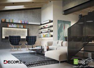 مدل دیوار بتنی در دکوراسیون داخلی منزل با نمایی بسیار شیک