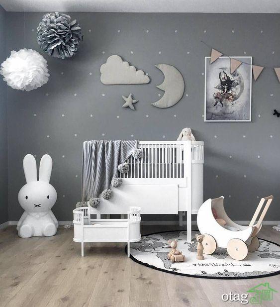 دکوراسیون اتاق نوزاد با تم زرد و خاکستری / عکس 2016