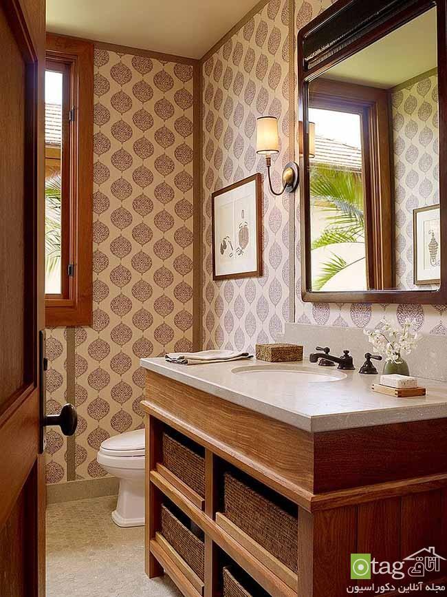 مدل روشویی و آینه با طراحی کلاسیک مناسب سرویس بهداشتی