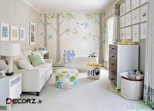 دکوراسیون اتاق نوزاد بهمراه سرویس وسایل نوزاد با طراحی زیبا