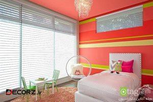 دکوراسیون اتاق کودک با رنگ قرمز همراه با چیدمانی اصولی