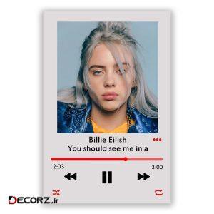 تابلو شاسی مدل موزیک آرت طرح بیلی ایلیش Billie Eilish you should see me in a crown کد  MP3-2