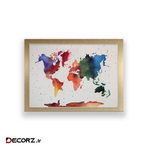 تابلو طرح آبرنگ نقشه جهان