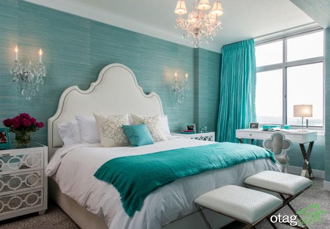 نحوه استفاده از رنگ فیروزه ای در دکوراسیون اتاق خواب