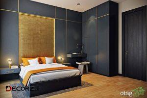 طراحی و تزیین دیوار اتاق خواب با چوب، رنگ و کاغذ دیواری