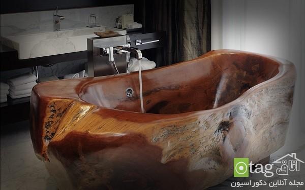 مدل وان حمام چوبی لوکس و شیک / دکوراسیون حمام 2015