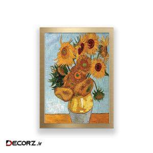 تابلو طرح نقاشی گل های آفتابگردان